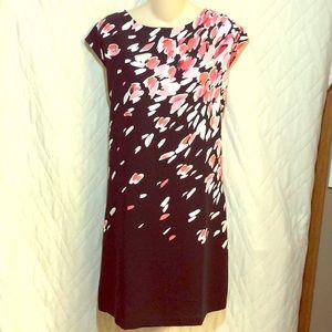 LOFT Black & Pink Floral Shift Dress, Sz M, NWOT
